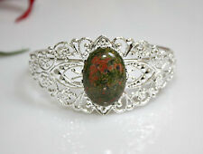 Unakite Stone Filigree Bracelet Silverplated Bangle Victorian Style Gift For Her