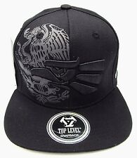 MEXICO Snapback Cap Hat Mexican Eagle Aguila Flag Black Flat Bill Adult OSFM NWT