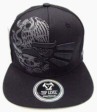 MEXICO Snapback Cap Hat Mexican Eagle Aguila Flag Black Flat Bill Adult OSFM NWT
