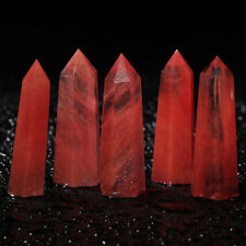 Natural Red Fluorite Quartz Crystal Wand Point Healing Stone Xmas Gifts Jewelry