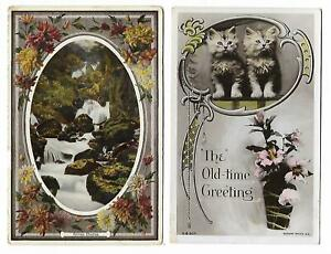 """Two Greeting Postcards - """"Sylvan Charms"""" & Kittens, """"Old Time Greeting"""" - 1900's"""