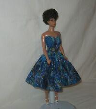 Handmade SHORT Cotton Blues and Purples Oil Slick Print Dress FOR Dolls