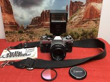 Canon AE-1 35mm SLR Film Camera w/ Canon FD 50mm F1.8  S.C. Lens Kit Tested