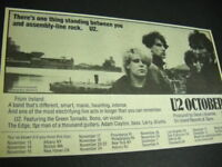 U2 original 1981 RSM advert Nov. 13 - Dec. 12 OCTOBER Tour Dates mint condition