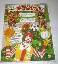 McDonalds 1974 Back To School McSports quiz Folder Ronald McDonald