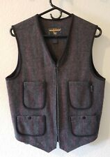 Woolrich Men's Small Western Plaid Zipper Front Grey Red Wool Vest USA