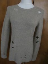 Aqua Women's Brown 100% Cashmere Distressed Crewneck Cashmere Sweater Small NWT