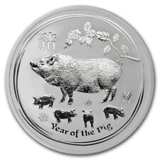 2019 ~ 2~OZ. .9999 SILVER ~ LUNAR YEAR of the PIG ~ PERTH MINT ~GEM COIN~ $57.88