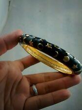 Pretty KJL Kenneth Jay Lane  black enamel  stars moons  bangle bracelet cuff
