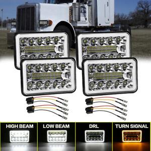 4X  4x6 inch LED Headlights DRL For Peterbilt Kenworth Freightliner Chevrolet