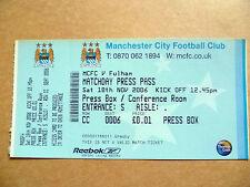 Press Pass-Manchester City v Fulham, Match Day pase de prensa, 18 de noviembre de 2006