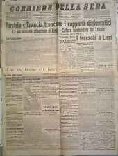 CORRIERE DELLA SERA AGOSTO 1914 AUSTRIA /FRANCIA TRONCANO I RAP. DIPLOMATICI 626
