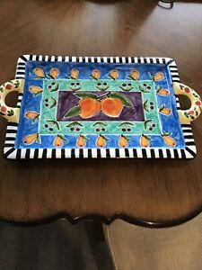 S.Purfog Artist 16x9.5 Beautiful Colorful Ceramic Platter-NWOT