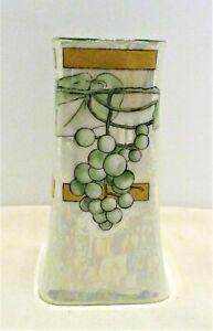 "Vintage 4.75"" Hand Painted Limoges Lustre Open Hat Pin Holder Grapes Green Gold"