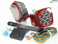Waterproof Red Submersible Trailer Boat LED Light w Kits & License Illuminator