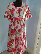 1960s dress robe Lounge Craft XS empire waist rose floral print hot pink cotton