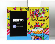 ROMERO BRITTO GLASS PHOTO FRAME - HAPPY BIRTHDAY  DISCONTINUED ** NEW **