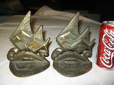 Antique Us Cast Iron Bronze Copper Nautical Maritime Sea Angel Fish Art Bookends