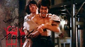 RARE Bruce lee jackie chan Canvas Print AUTOGRAPH SIGNED kung fu martial arts