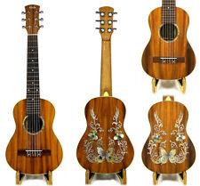 Alulu Solid Acacia Koa Baritone Guitarlele Butterfly Inlay Hard Case HU1471-1524