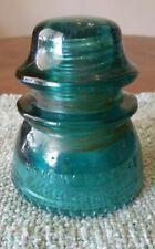 Antique Hemingray 42 Aqua Blue Glass Insulator Made in USA Beaded Bottom