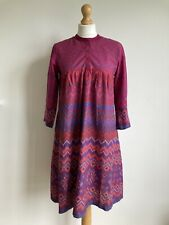 BIBA Size UK 8-10 EU 34 VTG 80's Floral Aztec Pink Tunic Dress 100% Cotton