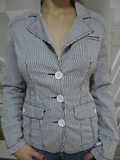 Jacke Blazer Gr M Weiß-Grau  Gestreift ,Fishbone ,Tailliert  2 Eingriff Taschen