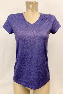 "Danskin Now Loose Purple Athletic Shirt S Small 4 6 17"" Gym Yoga Animal Print"