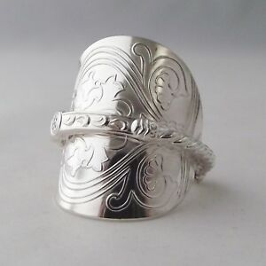 Silver Spoon Ring Handmade Antique Ornate Solid Sterling Hallmarked 1971