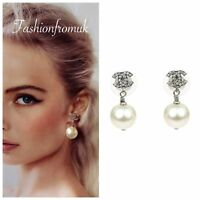 CHANEL Classic Silver Crystal CC logo Pearl Drop Earrings