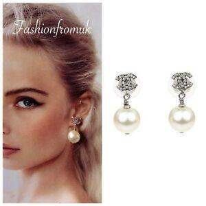 CHANEL Classic Silver Crystal CC logo Pearl Drop Earrings