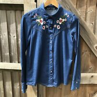 Zara Trafaluc Blue Denim Floral Embroidered Western Shirt Size XS / UK 8 BNWOT