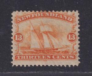 Newfoundland Canada SG 29 Scott 30 MH 1865 13¢ Orange Fishing Ship SCV $250