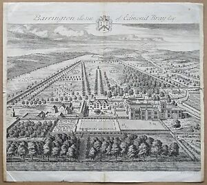 1712 Gloucestershire Barrington The Seat of Edmund Bray Engraving Print Kip