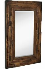 Rustic Natural Wood Framed Wall Mirror | Solid Construction Glass Wall Mirror...