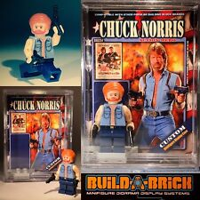 Action hero Chuck Norris custom MINIFIGURE w Display Case & lego stand 354