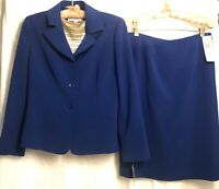 NWT Le Suit-2 Piece Business Jacket & Skirt Women's 8P Fitted Blue Career New