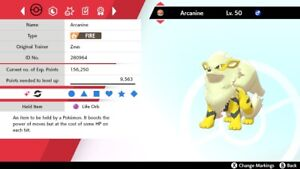 Ultra Shiny 6IV EV Trained Jolly Intimidate Arcanine Pokemon Sword/Shield + Item