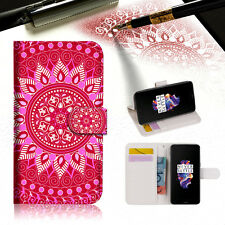 "Hot Pink AZTEC TRIBAL Wallet TPU Case Cover For New 5.5"" Oneplus 5 Five-- A004"
