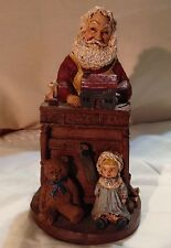 Hand Painted Santa at His work Bench Signed A. Beaver 93 w/Inscription