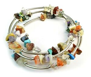 Handcrafted Artisan Natural Multi Gemstone Silver Memory Wire Wrap Bracelet