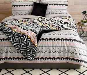Geometric Print Quilt / Doona Set Reversible Black White Pink Grey King Bed