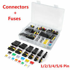 1Pc Car Waterproof Electrical Connector Terminal 1/2/3/4/5/6 Pin Way+Fuses W/Box
