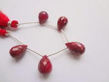 14-16mm Large Natural Ruby Corundum Faceted Briolette Precious Gemstones - 5 pcs