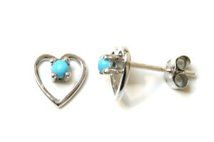 9ct White Gold Turquoise Studs Heart Earrings Gift Boxed Made in UK