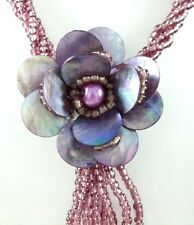 Purple Natural Flower Mother of Pearl Pendant Beads necklace Women Jewelry CA130