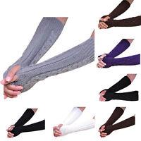 Women Men's Gloves Arm Warmer Long Fingerless knit Mitten Twist Winter 3 Type
