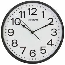 Hometime Black Bold Classic Quartz Wall Clock Non Ticking Silent Sweep