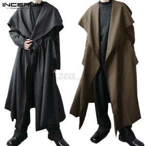 Men Punk Gothic Cape Jacket Causal Loose Open Front Cloak Cape Overcoat Outwear