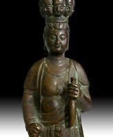 Antique Chinese Bronze Eleven Headed Avalokiteshvara Guan Yin Buddha Statue 觀音